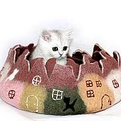 Для домашних животных, ручной работы. Ярмарка Мастеров - ручная работа Лежанка для кошки из натуральной шерсти Город. Handmade.