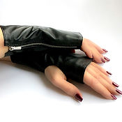 Аксессуары handmade. Livemaster - original item Black Leather Mittens with Zipper Avtoledi. Handmade.