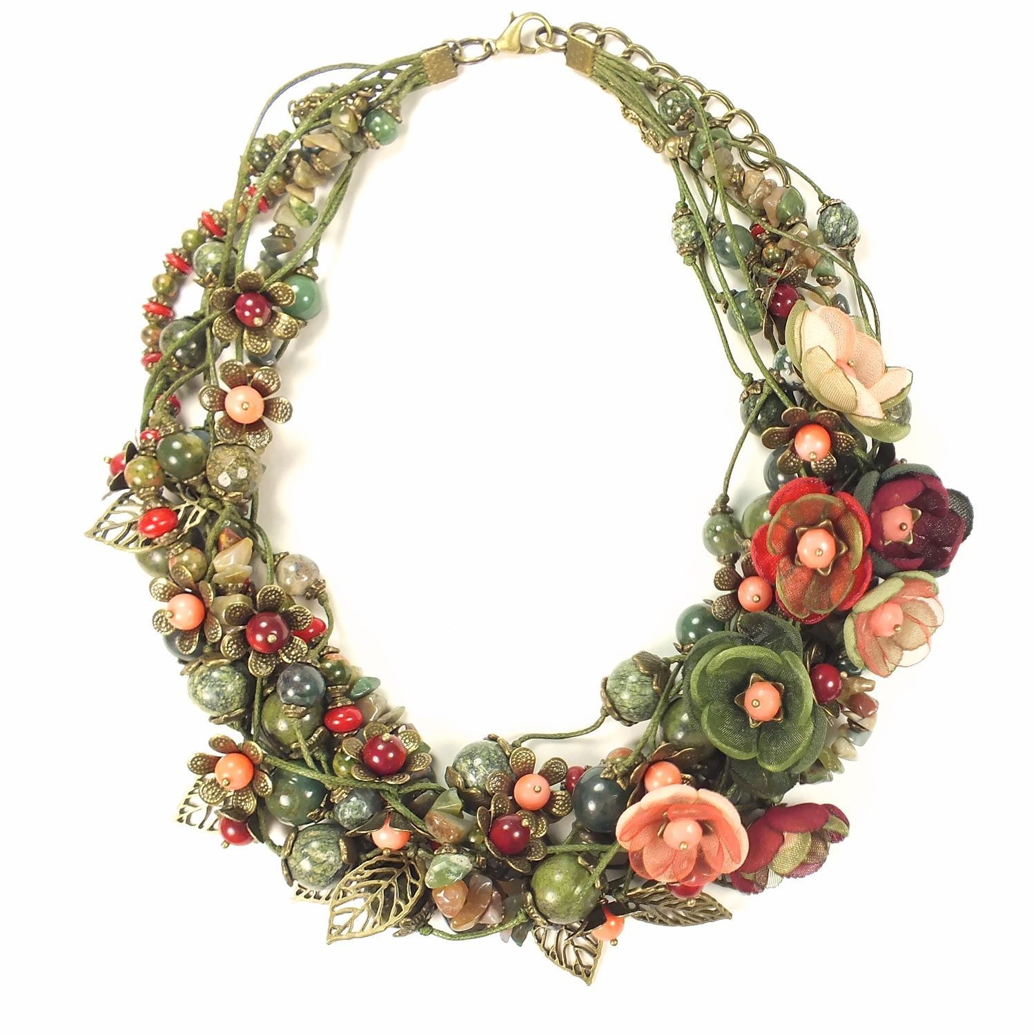 Morning Wild Roses, Choker, Natural stones, handmade Flowers, Necklace, St. Petersburg,  Фото №1