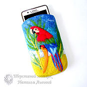 Сумки и аксессуары handmade. Livemaster - original item Phone case for Parrot macaw cover for cell phone case from wool. Handmade.