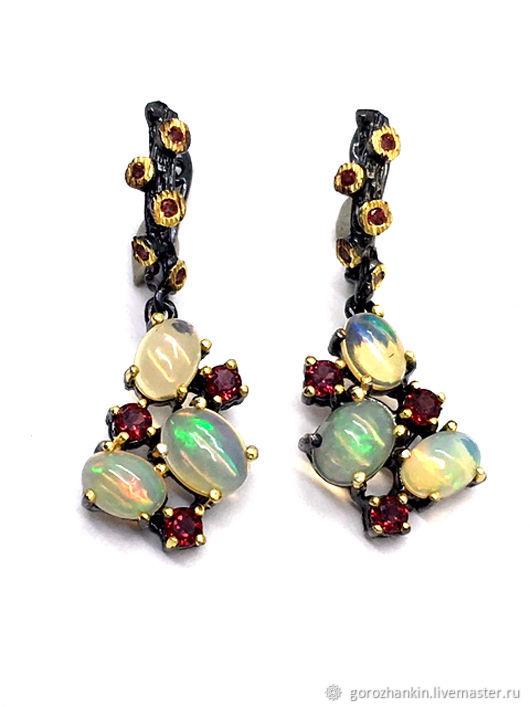 Earrings opal rhodolite silver, Earrings, Moscow,  Фото №1