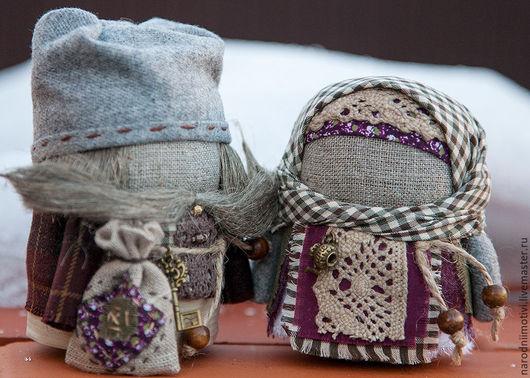 Народные куклы ручной работы, Купить куклы- обереги Крупеничка и Богач, оберег на достаток, оберег на благополучие, оберег для дома, зеленый, бордовый, бежевый, вишневый, серый.