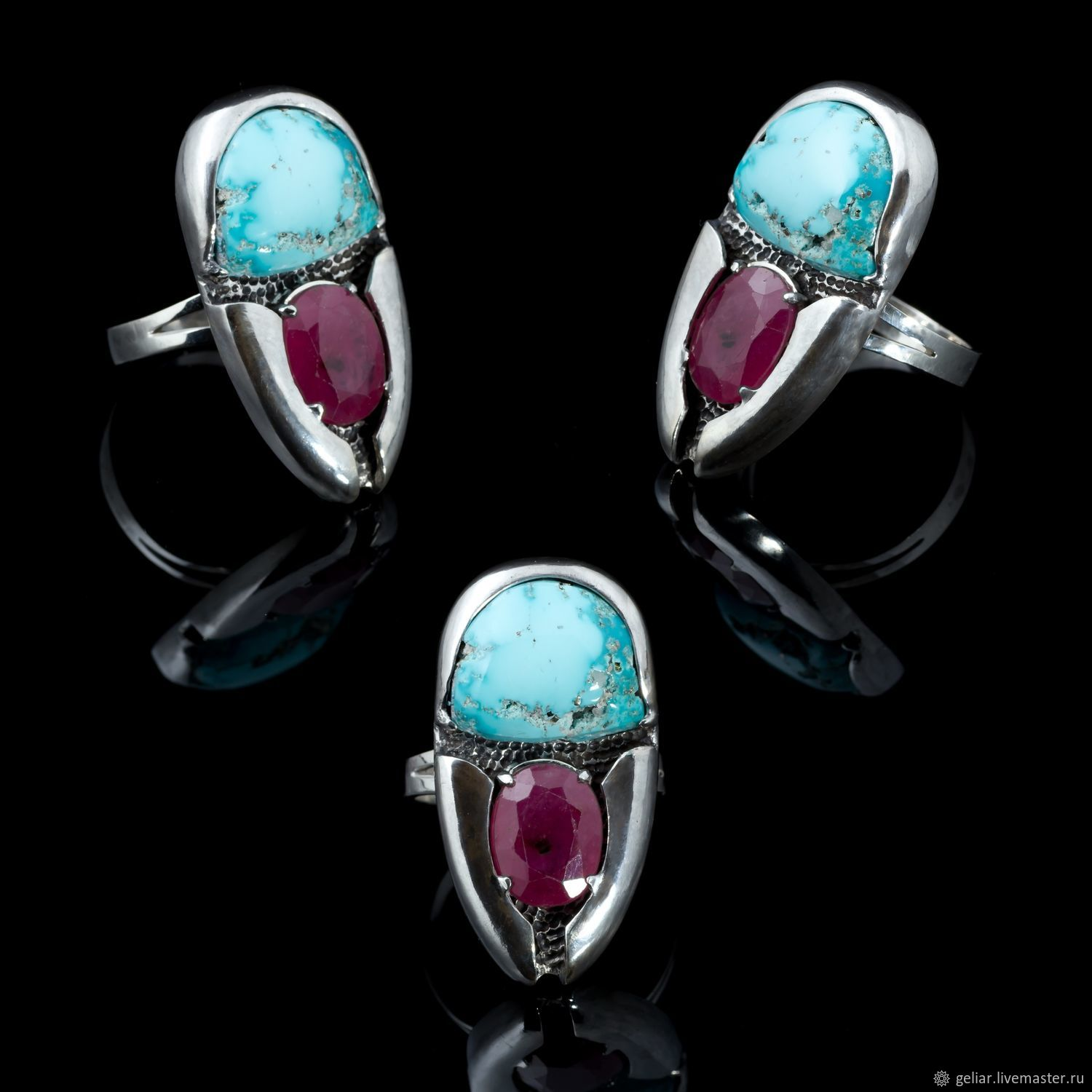 Scarab ring with ruby and turquoise, Rings, Tomsk,  Фото №1