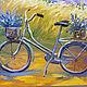 "Order Картина Прованс ""Велосипед на лавандовых полях"" холст масло. Multicolor Gallery. Livemaster. . Pictures Фото №3"