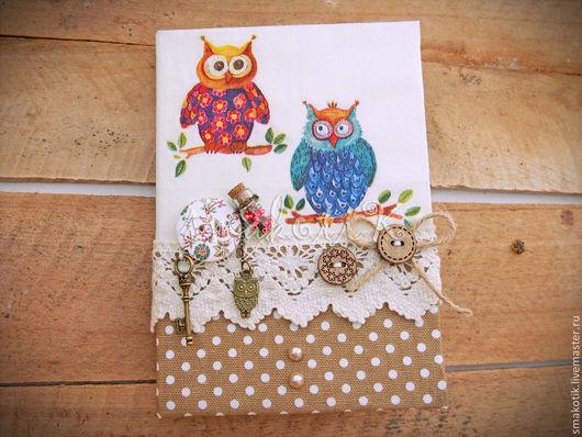 """Блокноты ручной работы. Ярмарка Мастеров - ручная работа. Купить Блокнот """"Совушки"""". Handmade. Блокнот, блокнот в подарок, хлопок американский"""