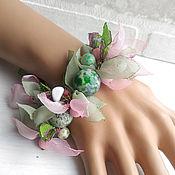 Украшения handmade. Livemaster - original item bracelet - necklace with stones in sheets of fabric.. Handmade.