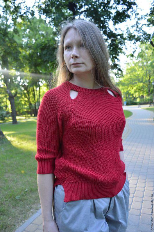Кофты и свитера ручной работы. Ярмарка Мастеров - ручная работа. Купить Вязанный  Джемпер. Handmade. Ярко-красный, зимний свитер