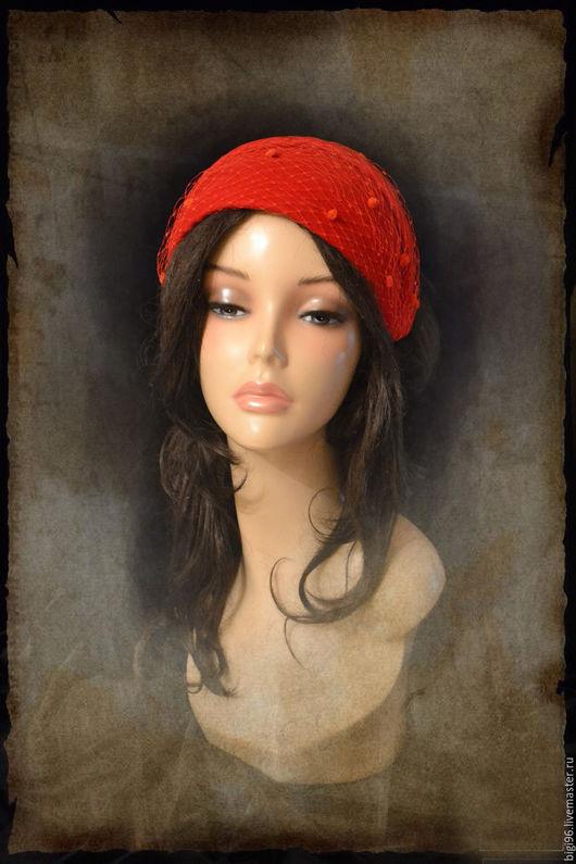 """Шляпы ручной работы. Ярмарка Мастеров - ручная работа. Купить Шляпка """" красная с вуалью"""". Handmade. Ярко-красный"""
