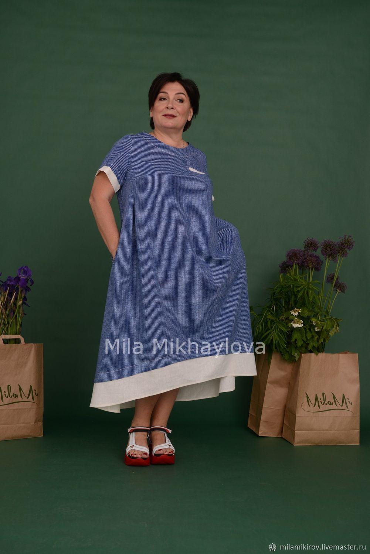 """Платье """"бохо"""" с отделкой, х/б синий в белую полоску Арт. 3531, Dresses, Kirov,  Фото №1"""