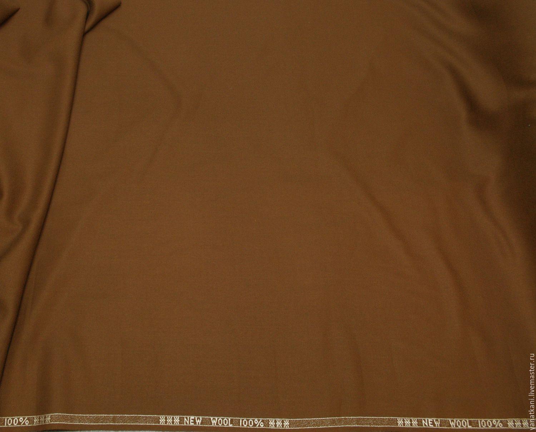 Креп шерстяной костюмный, коричневый, Ткани, Санкт-Петербург,  Фото №1