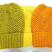 Аксессуары handmade. Livemaster - original item Knitted hat-beret cap-pumpkin volume with a lapel. Handmade.