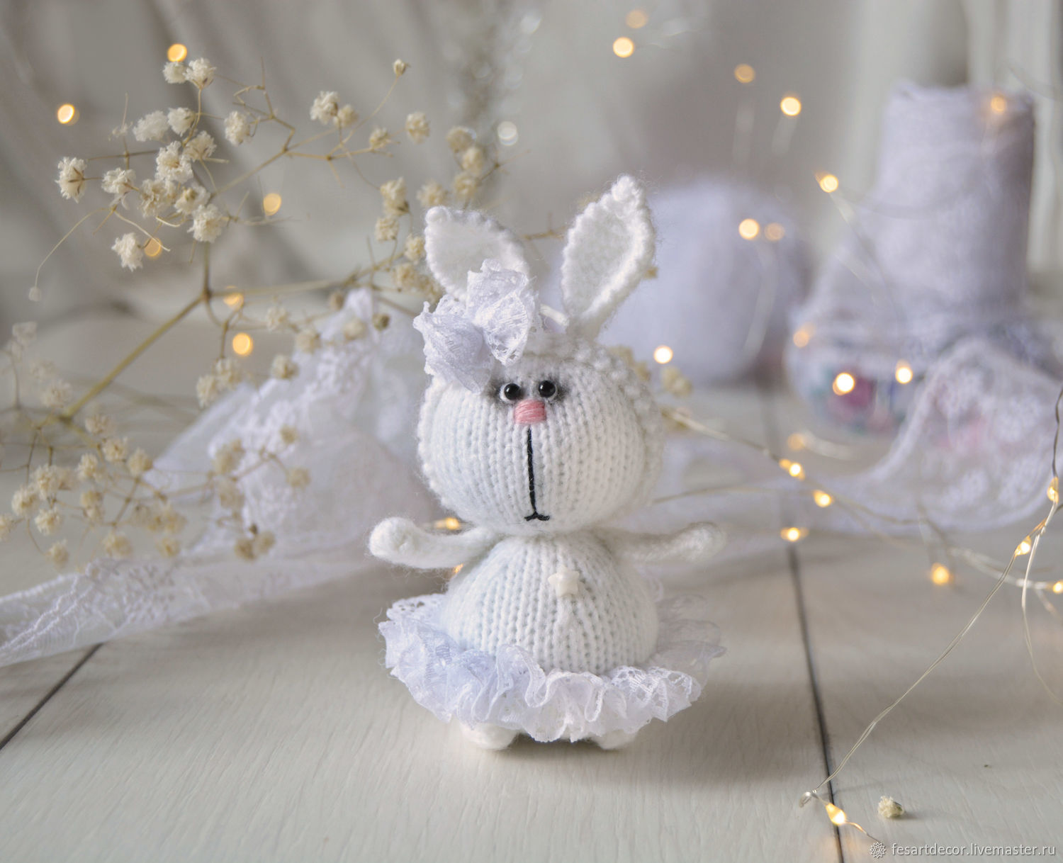 Bunny in a white lace skirt, Stuffed Toys, Lipetsk,  Фото №1