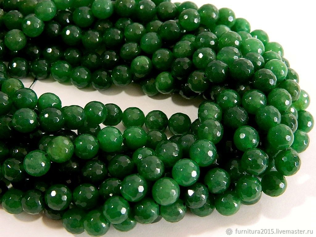 Agate 10 mm, faceted, green. for PCs, Beads1, Saratov,  Фото №1