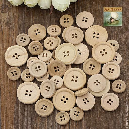 Шитье ручной работы. Ярмарка Мастеров - ручная работа. Купить Пуговицы деревянные, 4 отв., диаметры: 15, 20 и 25 мм. Handmade.