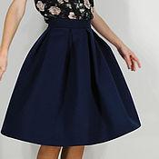 Одежда ручной работы. Ярмарка Мастеров - ручная работа Тёмно-синяя шерстяная юбка со складками. Handmade.