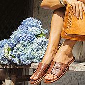 Обувь ручной работы. Ярмарка Мастеров - ручная работа Dolce Vita. Кожаные сандалии-слайды.. Handmade.