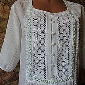 Одежда ручной работы. Ярмарка Мастеров - ручная работа Белая блузка-туника.. Handmade.
