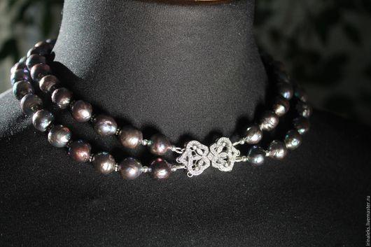 """Колье, бусы ручной работы. Ярмарка Мастеров - ручная работа. Купить Ожерелье """"Фиалка"""". Handmade. Тёмно-фиолетовый, серебряная фурнитура"""