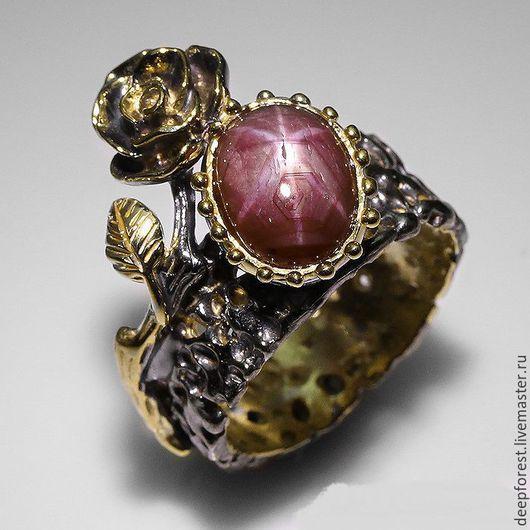 """Кольца ручной работы. Ярмарка Мастеров - ручная работа. Купить Кольцо звездчатый рубин """"Маленький принц"""". Handmade. серебряное кольцо"""