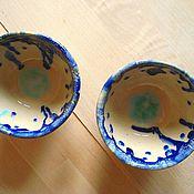 """Посуда ручной работы. Ярмарка Мастеров - ручная работа Пара керамических  пиалок  """"Утекает темная вода""""Проданы. Handmade."""