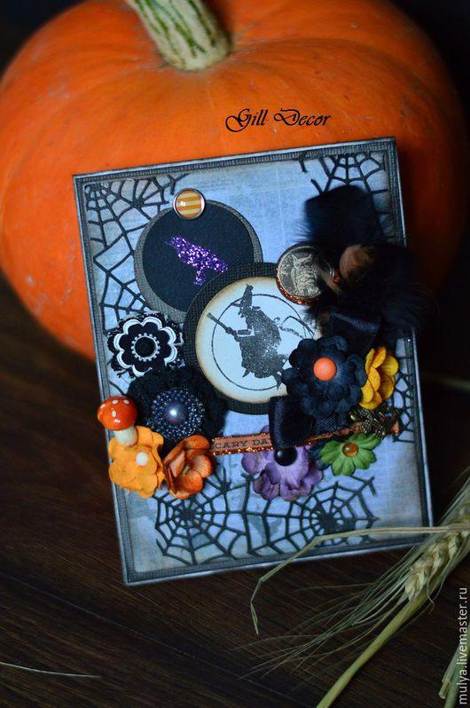 """Подарки на Хэллоуин ручной работы. Ярмарка Мастеров - ручная работа. Купить Открытка """"Witch"""". Handmade. Черный, ведьмочка, колдовство, перья"""