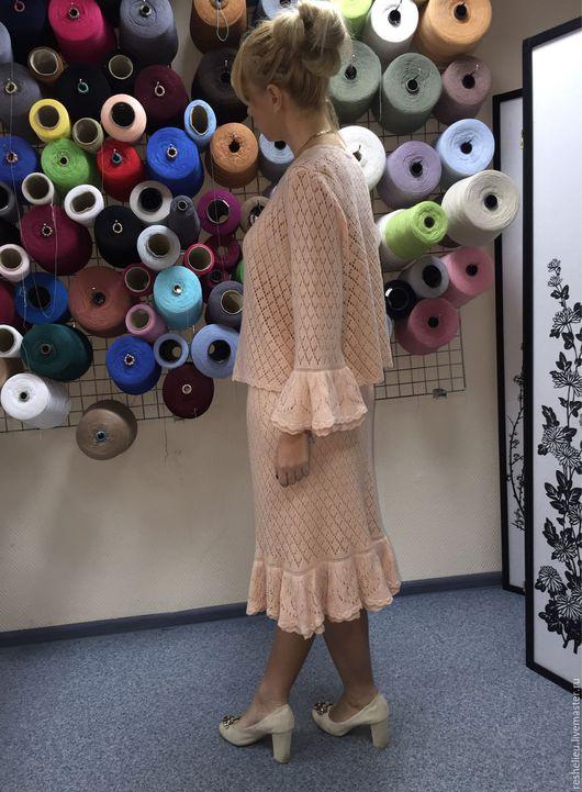 Костюмы ручной работы. Ярмарка Мастеров - ручная работа. Купить Котсюм женский вязаный №8 из 30% шерсти. Handmade. Бежевый