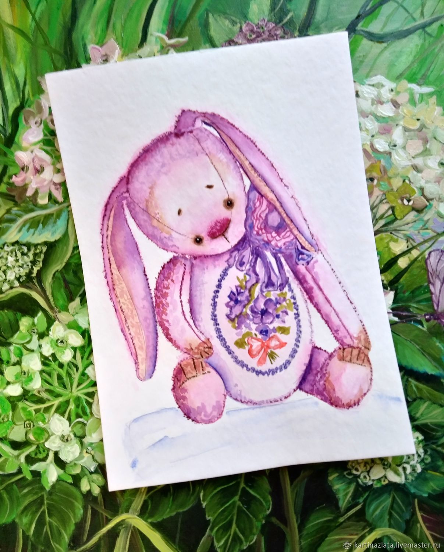 Портрет зайчика тедди акварель, Картины, Азов,  Фото №1