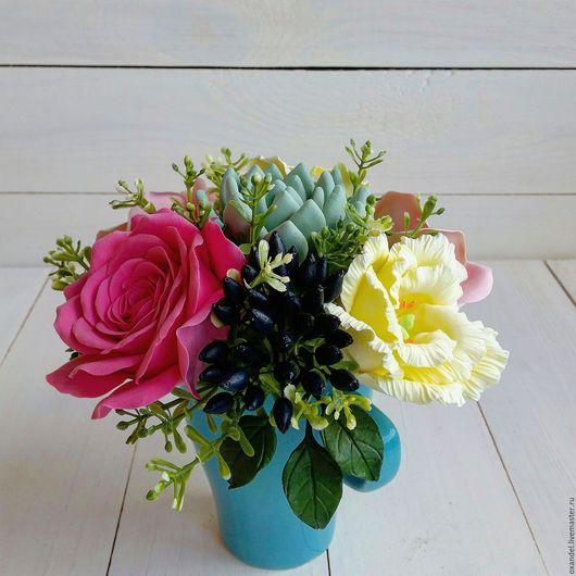 Букеты ручной работы. Ярмарка Мастеров - ручная работа. Купить Букет в чашке с розами и лизиантусами. Handmade. Комбинированный, лизиантус