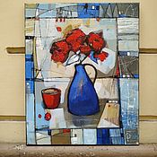 Картины и панно handmade. Livemaster - original item Pictures: Still life Three red flowers in a vase modern painting. Handmade.
