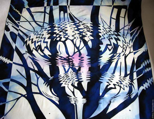 """Шарфы и шарфики ручной работы. Ярмарка Мастеров - ручная работа. Купить Платок  Эшер """" Рябь"""". Handmade. Батик платок"""