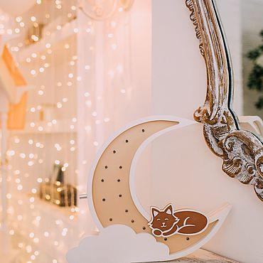 Для дома и интерьера ручной работы. Ярмарка Мастеров - ручная работа Элементы интерьера: Ночник (светильник) Кошка на луне. Handmade.