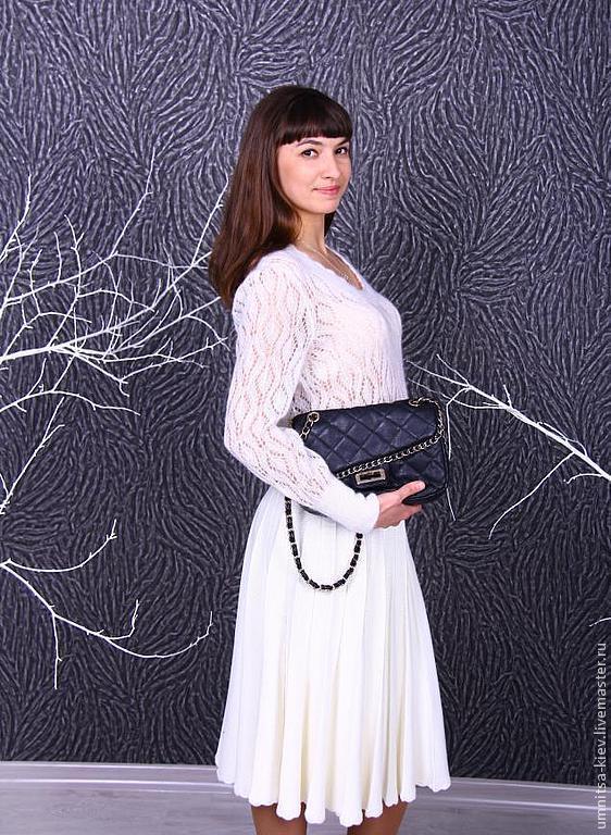 d98557d100e Вязаная белая юбка плиссе – купить в интернет-магазине на Ярмарке ...