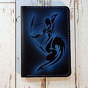 Сумки и аксессуары handmade. Livemaster - original item Leather passport cover with the zodiac Sagittarius pattern. Handmade.