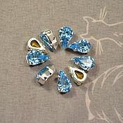 Материалы для творчества handmade. Livemaster - original item 1pc Rhinestones drops 10h6 Czech Aqua in DACs. Handmade.
