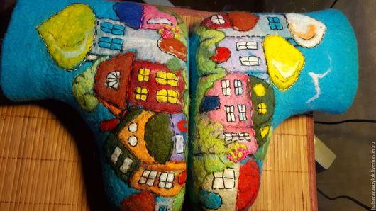 Обувь ручной работы. Ярмарка Мастеров - ручная работа. Купить Валенки МОНАСТЫРСКИЕ ДВОРИКИ. Handmade. Бирюзовый, шерсть меринос