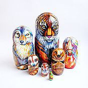 """Матрешки ручной работы. Ярмарка Мастеров - ручная работа Матрешка """"Животные"""", расписная деревянная матрешка набор 7 кукол. Handmade."""