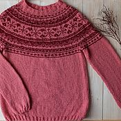 Одежда handmade. Livemaster - original item Sweater-lopapeysa female knitted Cherry kiss on a frosty morning. Handmade.