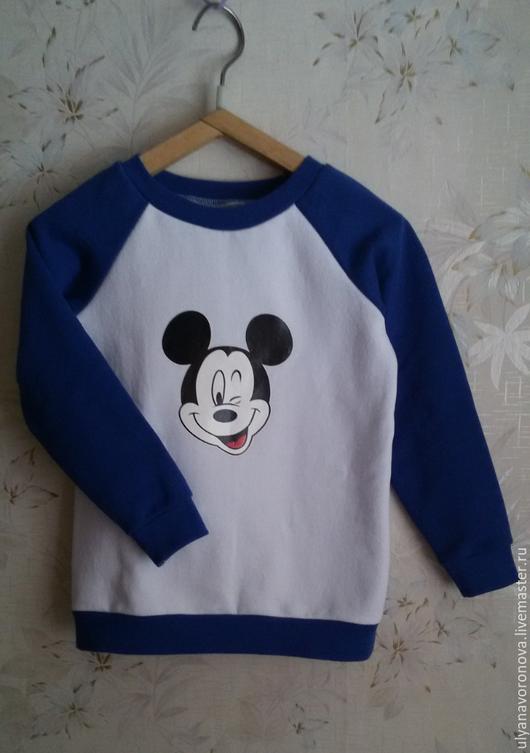 """Одежда для мальчиков, ручной работы. Ярмарка Мастеров - ручная работа. Купить Свитшот """"Микки"""". Handmade. Тёмно-синий, однотонный, свитшот"""
