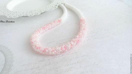 Колье, бусы ручной работы. Ярмарка Мастеров - ручная работа. Купить Колье украшение из бисера Розовые грёзы нежно-розовый бело- розовый. Handmade.