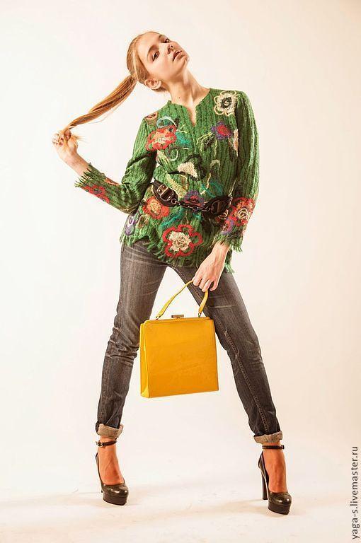 """Кофты и свитера ручной работы. Ярмарка Мастеров - ручная работа. Купить Яга свитер """"Зеленая этника"""". Handmade. Цветочный"""