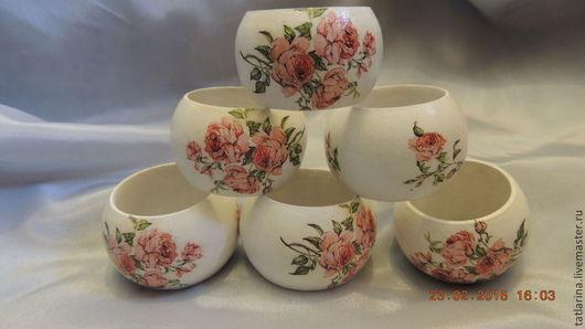 """Кухня ручной работы. Ярмарка Мастеров - ручная работа. Купить Кольца для салфеток """"Ах эти Розы розы"""". Handmade. Разноцветный"""