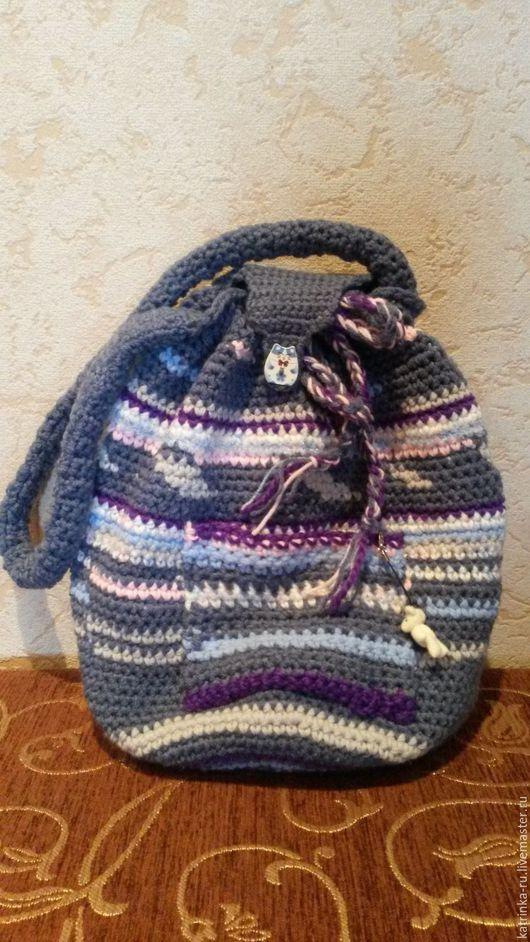 Женские сумки ручной работы. Ярмарка Мастеров - ручная работа. Купить Сумка-Рюкзак вязанный крючком. Handmade. Тёмно-синий
