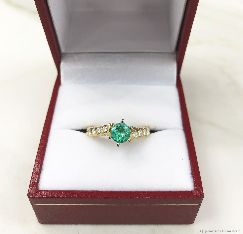 Modern Emerald Diamond Statement Ring Bezel Set Diamond Accent Ring