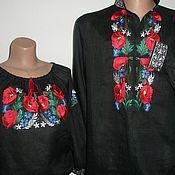 """Одежда ручной работы. Ярмарка Мастеров - ручная работа """" Маки"""" на чёрном. Handmade."""