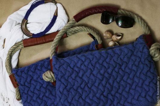 Женские сумки ручной работы. Ярмарка Мастеров - ручная работа. Купить Сумка Джинсовая плетенка. Handmade. Синий, сумка женская
