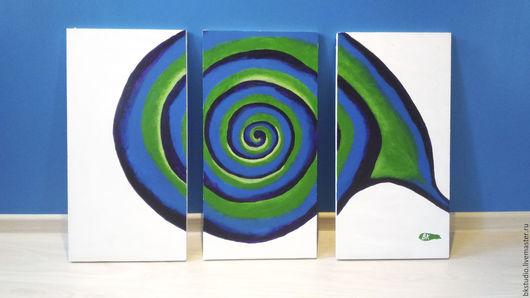 """Абстракция ручной работы. Ярмарка Мастеров - ручная работа. Купить Картина """"Улитка"""". Handmade. Комбинированный, дерево, абстракция, акриловые краски"""
