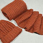 Шапки ручной работы. Ярмарка Мастеров - ручная работа Шапка и шарф комплект вязаный. Handmade.