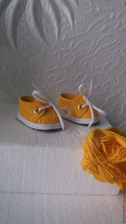 Одежда для кукол ручной работы. Ярмарка Мастеров - ручная работа. Купить Желтые кроссовочки для Беби Борн. Handmade. Желтый, кроссовки