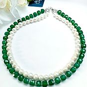 Украшения handmade. Livemaster - original item Chrysoprase and pearl necklace