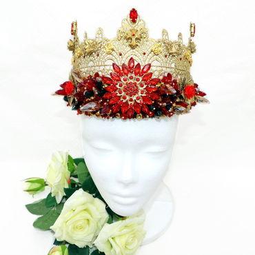Украшения ручной работы. Ярмарка Мастеров - ручная работа Красно-золотая корона в стиле Дольче Габбана. Handmade.